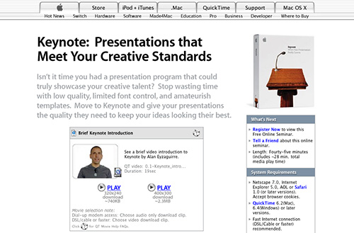 Screenshot of a Keynote seminar titled presentations that meet your creative standards
