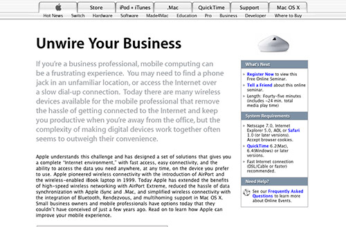 Screenshot of a seminar about wireless technology titled unwire your business