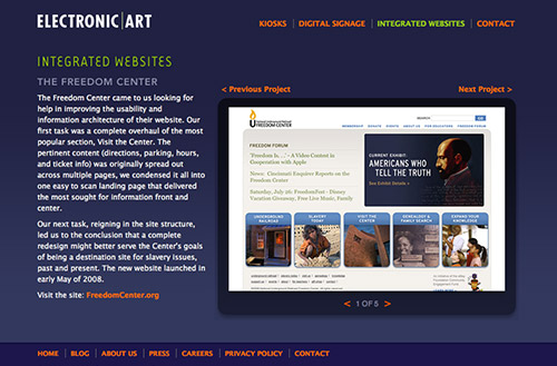 Screenshot of an Electronic Art portfolio detail page