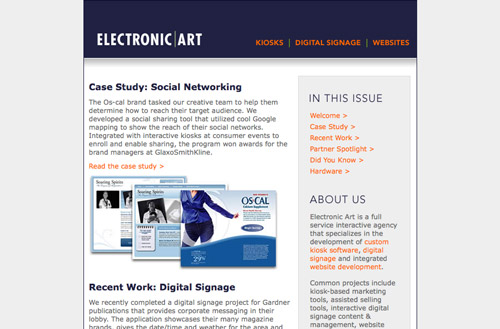 Screenshot of an Electronic Art newsletter
