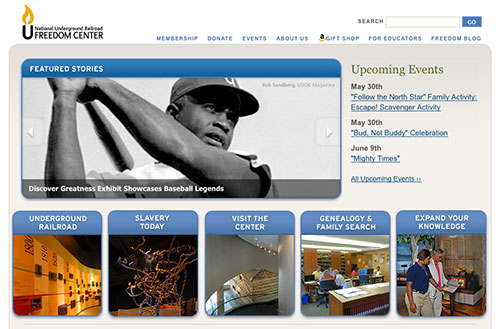 Screenshot of the current National Underground Railroad Freedom Center homepage