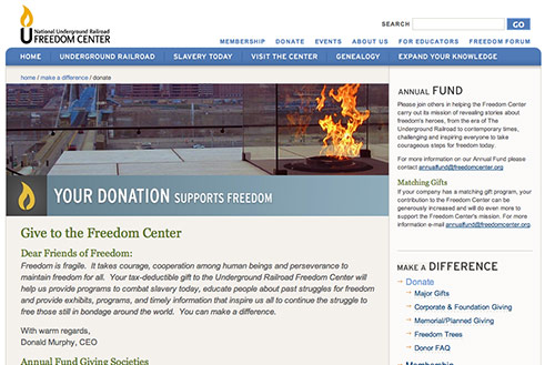 Screenshot of the donation page