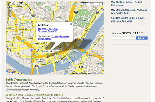 Screenshot of the visit the center page with embedded google map