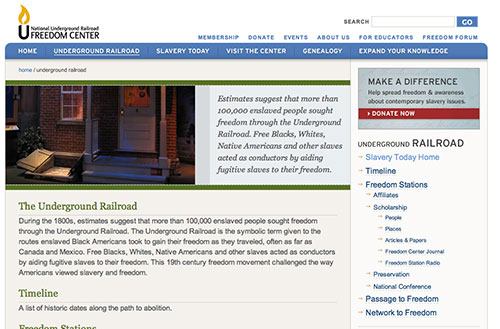 Screenshot of the underground railroad section homepage