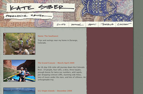 Screenshot of the travels page where albums of photos can be seen