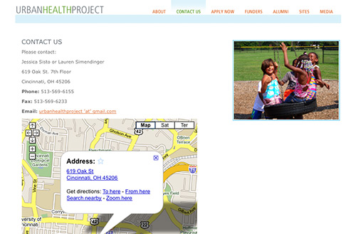 Screenshot of the contact Urban Health Project page